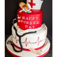 Happy Nurse's Day Cake This is a cake that was requested by a friend of mine. She saw a photo of a cake like this online and wanted duplicated. I added a few of...