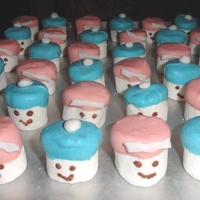Marshmallow Babies I bought marshmallow and decided to dip the top on blue and pink candy chocolate. I painted the eyes and mouth with chocolate and made the...