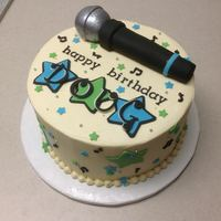"Karaoke Birthday Made for a co-worker's birthday. Cake is a 9"" strawberry with strawberry puree and vanilla bean cream cheese icing."