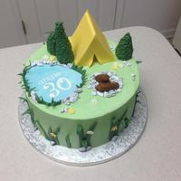 "Camping 30Th 9"" red velvet with vanilla bean cream cheese filling. Fondant and candy rock accents."
