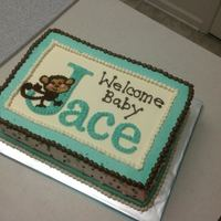 Monkey Baby Shower All buttercream 9x13 vanilla with Oreo filling