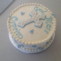 "Baptism Cake Made for a friend's baby. Cake is a 10"" vanilla with lemon curd filling."