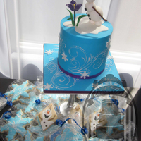 Frozen Olaf :) Frozen is in the Air!!!! And Olaf is taking the center stage once again! Small cake for a private birthday party and matching cookies to go...