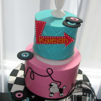 "50S Sweet 16! I never had an opportunity to make ""Era"" cake, this was my first and so much fun! The iconic colors and elements of 50's..."