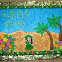 Luau Cake Made this for a child's Luau Party. Strawberry cake and frosting, flowers and trees are a fondant/gumpaste mixture. Patchwork cutters...