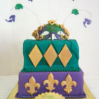 Mardi Gras Mardi Gras birthday cake for a friend. Fondant and gumpaste.