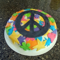 "Peace Cake  Buttercream frosted 12"" cake with fondant decorations. Made for a 10th birthday party for a girl who ""digs"" the peace sign..."