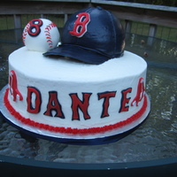 Red Sox Hat And Ball hat was made using wilton ball pan, ball was made with rice krispie treats,