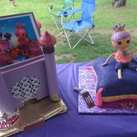 Lalaloopsy Sahara Mirage Pillow cake with a 3d Lalaloopsy Sahara Mirage doll on top. She was made from RKT and i used a styrofoam ball for her head so she wouldnt...