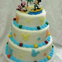 Mickey Mouse Surfing I made this for a 2 year old boy. It's vanilla butter cake with buttercream filling and MMF. There are gumball accents on the border....