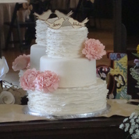 Rustic Ruffles Maggie Austin inspired 6/9/12. Adore this cake. Sugar peonies in dusty rose. Bride made the topper. She found a vintage vanity and her...