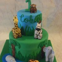 Safari Birthday Cake Safari Birthday Cake with gumpaste animals
