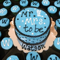 Tiffs Bridal Shower Cake Blue With Black Trim Surrounded By 48 Cupcakes Tiff's bridal shower cake - blue with black trim, surrounded by 48 cupcakes