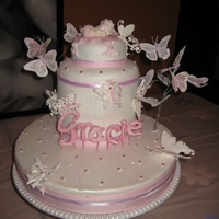 "Girl Baby Shower Friends baby shower for little girl ""Gracie"". WASC and marble cake. Fondant covered...."