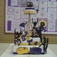 Dance-A-Thon Fondant covered vanilla and choc with van BC....cutout stencils with instruments and rotating/lighting disco ball.....