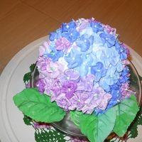 Hydrangea Cake First time hydrangea cake with gumpaste leaves. Pistachio with whipped cream filling for niece.
