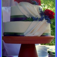Small Wedding Cake Wedding cake with grapes and swag. Also made the pedistal out o a terra cotta pot and plate.
