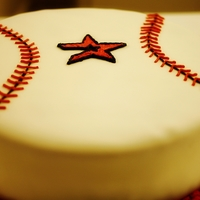 "My Husbands Groom's Cake 12"" Astros cake. White cake filled with strawberries, iced with buttercream and decorated with fondant."