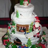 Christmas Cake   everything is edible even hand sculpted figures and decorations