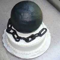 Ball & Chain Grooms Cake. Ball and Chain all buttercream with fondant chain
