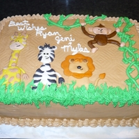 Jungle Baby Shower Jungle baby shower cake to match the invitations. Buttercream with fondant decorations