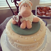 Little Lamb Ivory fondant cake, lamb made from rice krispy treats with cut up mini marshmallows. any comments/suggestions are wecolmed. thanks for...