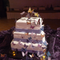 Butteflies Cake Cake covered with fondant with gumpaste and rice paper butterflies