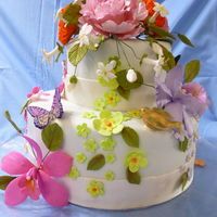 Special Birthday Fondant cake with sugarpaste bird, flower and butterflies