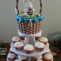 Made This For Easter The Basket Is Rice Crispies Covered In A Fondant Basket Weave Pattern Cupcakes Are Lemon With A Lemon Cream Cheese Fr... Made this for easter. The basket is rice crispies covered in a fondant basket weave pattern. Cupcakes are lemon with a lemon cream cheese...