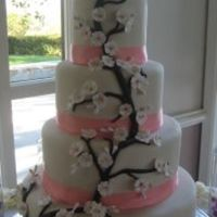 Cherry Blossom Wedding Cake This was my first 4 tier wedding cake and my first attempt at SugarShaks stacking method. It was TOO heavy to deliver stacked but I used...