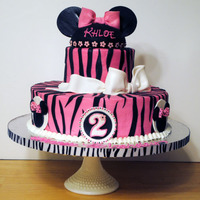 Minnie 3 tiered, Diva theme Minnie Mouse, frosted in buttercream with fondant stripes and accents.