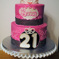 "21St Birthday Cake 8 With 6 On Top Frosted In Buttercream With Fondant Accents 21st birthday cake, 8"" with 6"" on top, frosted in buttercream with fondant accents."