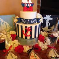 Nautical Baby Shower Nautical Baby Shower for a boy. Fondant sailboat on top of a 2 tiered cake frosted in buttercream with fondant accents.