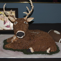 Deer And Football Fan Grooms Cake The groom is a hunter and also loves football so the bride wanted to surprise him with a cake. This is the very first deer cake i have ever...