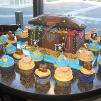 "Tresure Chest With Cupcakes Made for a local bank to celebrate ""Finding treasure for our members"" which seemed an odd theme to me. I'd stay far away..."