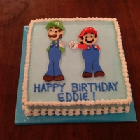 Mario And Luigi Mario and Luigi. Fondant cut outs. Drew the pictures and then used a sharp knife to cut out the pieces individually, then put them back...