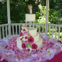 Wicker Wedding Cake These are 16-12-8 and 6 inch cakes iced with b/c using a round tip in a basket weave pattern.Flowers are fresh, and it was my first time...
