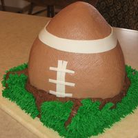 Game Day Cake 8 in square bottom, football pan cut in half and put together for the top.