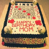Bingo Card Mom's b-day cake, fondant accents.