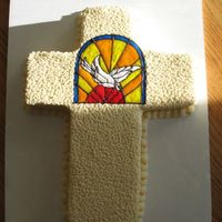 Cake For Church Rafle   2-9x13 stacked, cut and pieced back together. Piping gel dove picture.