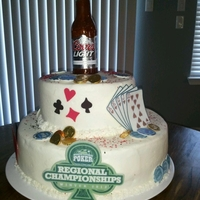 Wtp Regional Championship Butter cake on bottom, chocolate cake on top, buttercream frosting, fondant accents, sugar beer bottle (real labels)