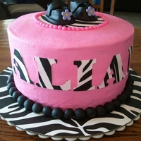 Pink Zebra Lemon Drop Cake with BC frosting & fondant accents.