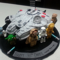 Lego Millenium Falcon Everything is edible in this lego fanatics cake.