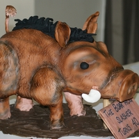 3D Wild Boar Cake This was made for a clients husband who hunts. It was quite complex and a good learning curve. The legs are made from wood and everything...