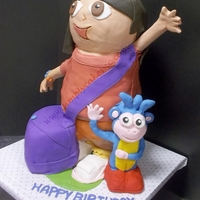 3D Dora Dora in 3D. her head is rice krispies, limbs are pvc and the rest is cake.