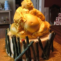 Buddah This is all cake...I made it from round cakes and sheet cakes, covered in fondant, and airbrushed. The bamboo is fondant as well.
