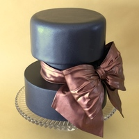 Sugarveil Bow Cake SugarVeil Extra Dark Chocolate Icing (thin layer) spread onto copper luster dust to make bow