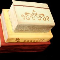 Vintage Books   Covered in fondant and antiqued and distressed to look aged. Love these!