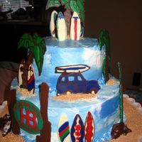 Huntington Beach Surfboard Cake I had SOOO much fun with this. Yellow Butter cake with Choco buttercream filling and buttercream frosting. Asked for just a beach/surf...