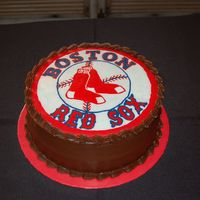 Redsox Grooms Cake   Vanilla caramel cake with chocolate icing and a FBCT of the Red Sox logo.